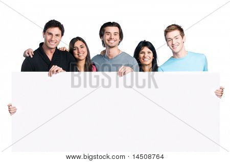 Happy group of five friend holding a blank placard sign to write it on whatever you want, isolated on white background