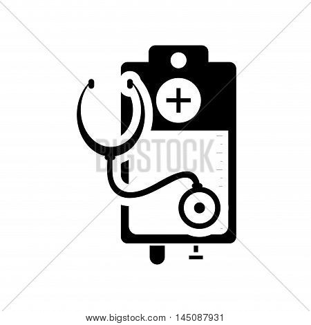 flat design iv drip bag and stethoscope icon vector illustration