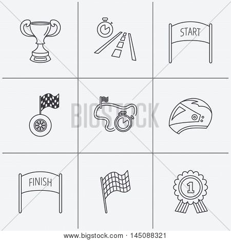 Winner cup and award icons. Race flag, motorcycle helmet and timer linear signs. Road travel, finish and start flat line icons. Linear icons on white background. Vector