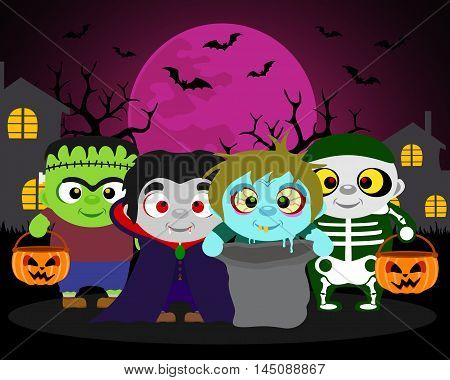 Halloween background trick or treat with kids in Halloween costume