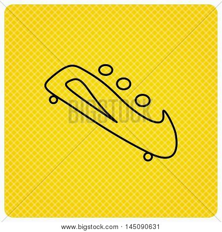 Bobsleigh icon. Three-seater bobsled sign. Professional winter sport symbol. Linear icon on orange background. Vector