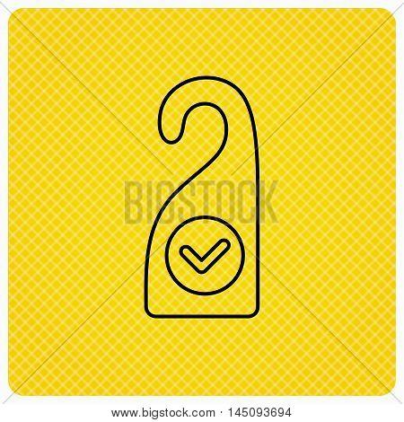 Clean room icon. Hotel door hanger sign. Maid service symbol. Linear icon on orange background. Vector