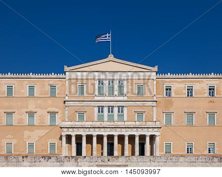 The front facade of the current Hellenic Parliament building Old Royal Palace