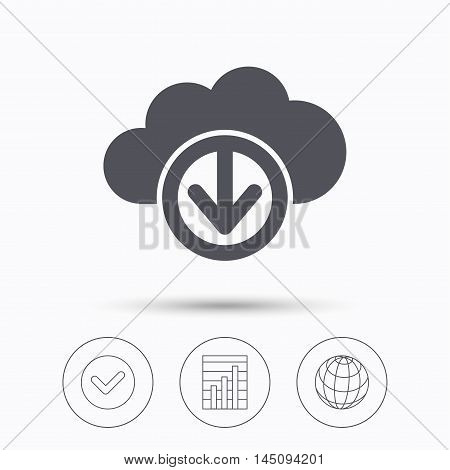 Download from cloud icon. Data storage technology symbol. Check tick, graph chart and internet globe. Linear icons on white background. Vector