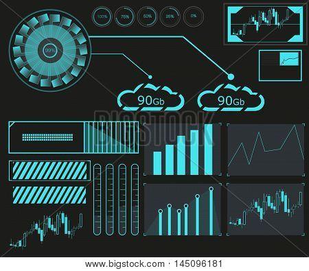 Hud elements forex graph.Vector illustration. Virtual graphic.