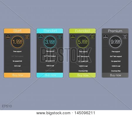 Four banner for the tariffs and price lists. Web elements. Plan hosting. Vector design for web app. Four banner for the clouded sky service.