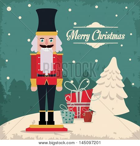 nutcracker gift cartoon vintage merry christmas decoration celebration icon. Colorful and grunge design. Vector illustration