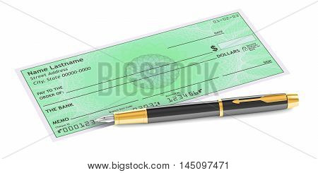 cheque with fountain pen 3D rendering isolated on white background