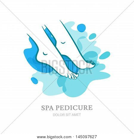 Womens Feet On Water Splash Background. Vector Logo, Label, Emblem Design Elements.
