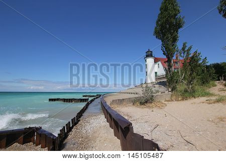 Breakwater and Point Betsie Light in Michigan