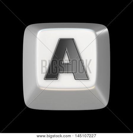 Computer Keyboard Key Font. Letter A 3D