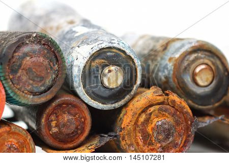 old battery leak / hazardous waste concept