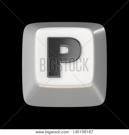 Computer Keyboard Key Font. Letter P 3D