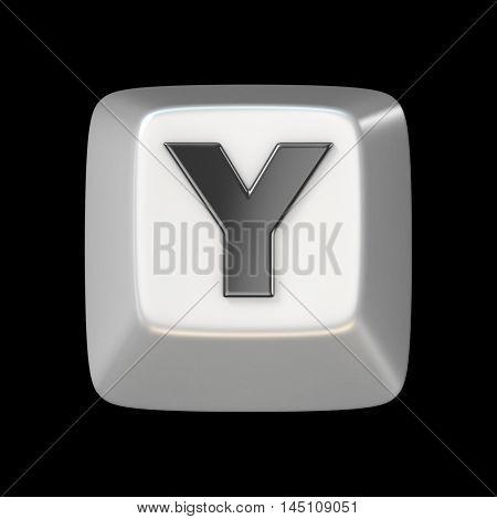 Computer Keyboard Key Font. Letter Y 3D