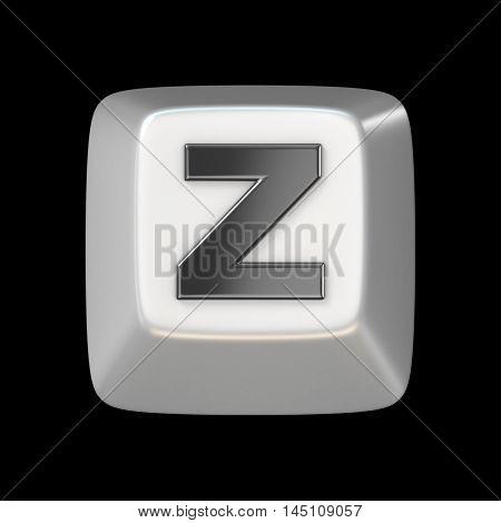 Computer Keyboard Key Font. Letter Z 3D