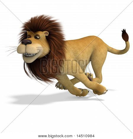 cute and funny rendering of a male cartoon lion