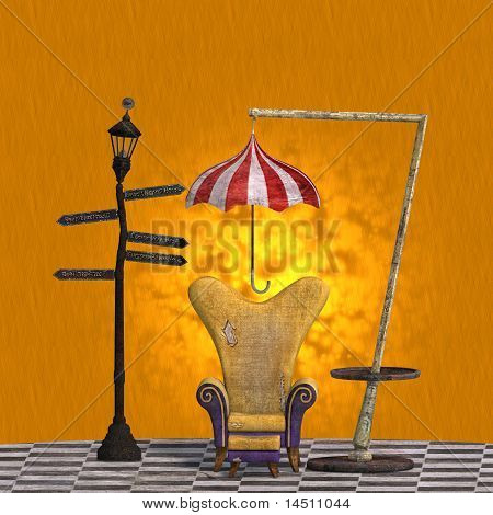 very surreal rendering of a chair with funny elements. 3D rendering of a fantasy theme for background usage. poster