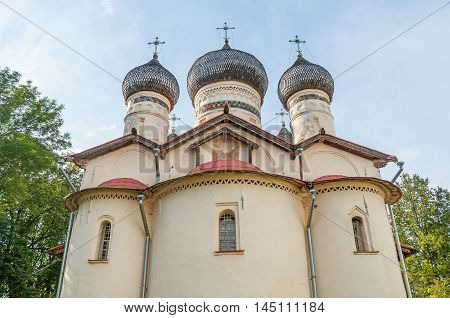 Church of St Theodore Stratilates on the Shirkov street Veliky Novgorod Russia - facade view of church. Architecture summer landscape