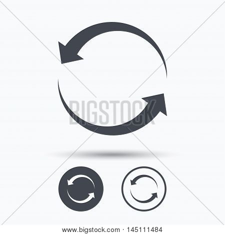 Update icon. Refresh or repeat symbol. Circle buttons with flat web icon on white background. Vector