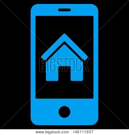 Smartphone Homepage icon. Vector style is flat iconic symbol, blue color, black background.