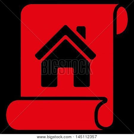 Realty Description Roll icon. Vector style is flat iconic symbol, red color, black background.