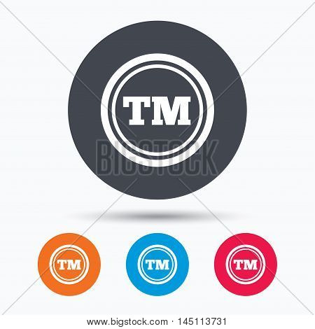 Registered TM trademark icon. Intellectual work protection symbol. Colored circle buttons with flat web icon. Vector