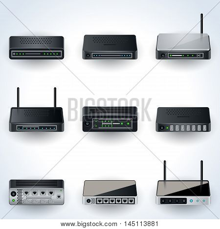 Network equipment icons. Modems, routers, hubs realistic vector illustration