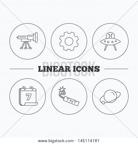 Ufo, planet and telescope icons. TNT dynamite linear sign. Flat cogwheel and calendar symbols. Linear icons in circle buttons. Vector