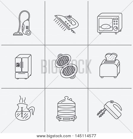 Microwave oven, coffee and blender icons. Refrigerator fridge, steamer and toaster linear signs. Vacuum cleaner, ironing and waffle-iron icons. Linear icons on white background. Vector
