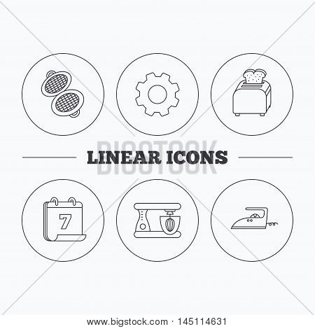 Iron, toaster and blender icons. Waffle-iron linear sign. Flat cogwheel and calendar symbols. Linear icons in circle buttons. Vector