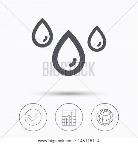 Water drop icon. Rainy weather symbol. Check tick, graph chart and internet globe. Linear icons on white background. Vector