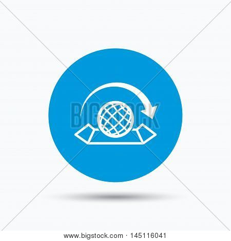 World map icon. Globe with arrow sign. Travel location symbol. Blue circle button with flat web icon. Vector