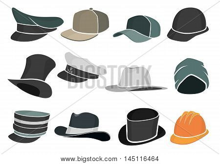 set of colored flat hats military and civilian