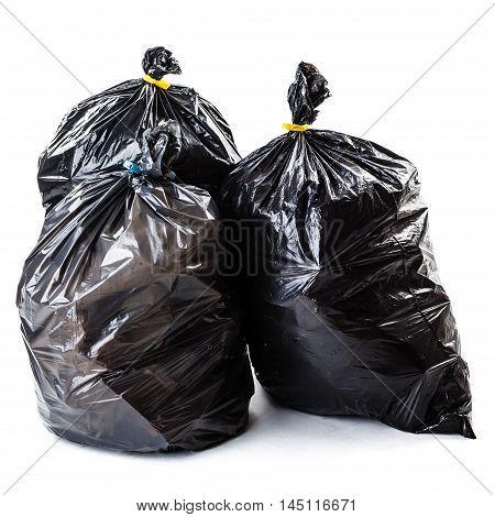 Black Garbage Bags On White