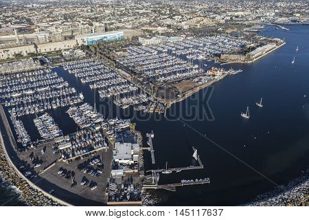 Redondo Beach, California, USA - August 16, 2016:  Aerial view of Redondo Beach Marina near Los Angeles in Southern California.