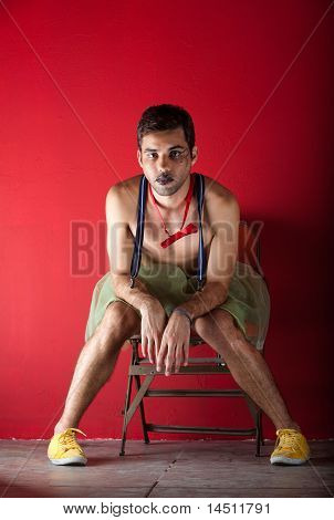 Performer Seated Backstage