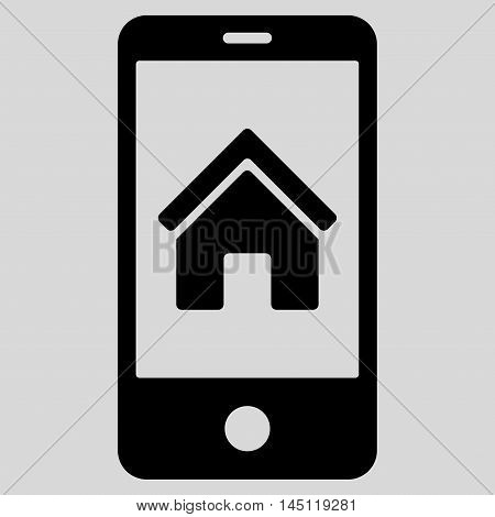 Smartphone Homepage icon. Vector style is flat iconic symbol, black color, light gray background.