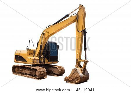 Yellow Excavator In Construction Site Isolated On White Background