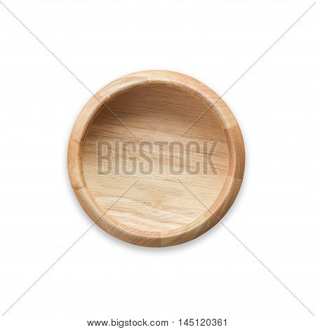 Top View Bright Empty Wooden Bowl Isolated On White. Saved With Clipping Path