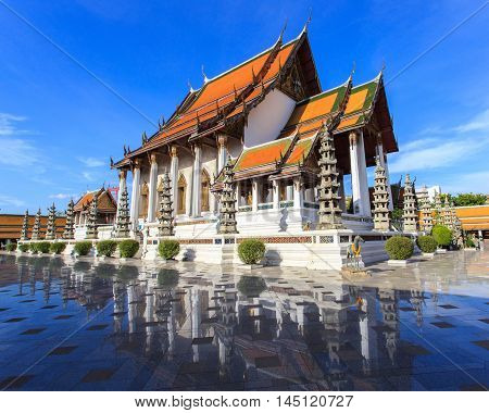 Wat Suthat Temple in sunshine day at Bangkok Thailand.