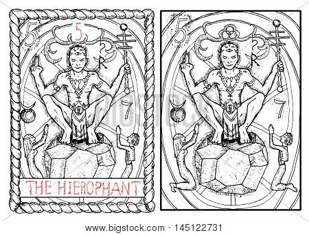 The hierophant. The major arcana tarot card, vintage hand drawn engraved illustration with mystic symbols. Priest or magician sitting on stone and holding wand. Man and woman praying.