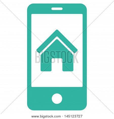 Smartphone Homepage icon. Vector style is flat iconic symbol, cyan color, white background.