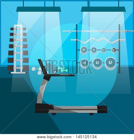 Vector illustration treadmill in gym interior with sports equipment. Fitness training space. Cardio running exercise. Active sport lifestyle background. Gym without people. Bodybuilding concept