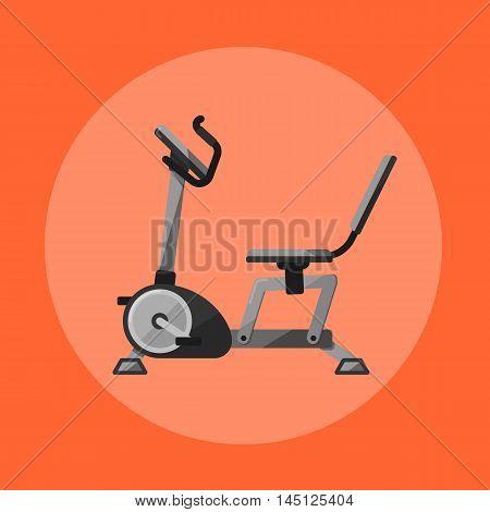 Vector illustration of gym sports equipment icon. Black exercise bike isolated on orange background. Cardio training. Active sport lifestyle. Stationary exercise machine.