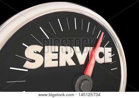 Service Fast Speedometer Quick Customer Responsive 3d Illustration