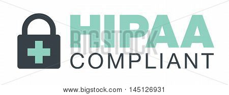 HIPAA Compliance Icon Graphic with Medical Security Symbol poster