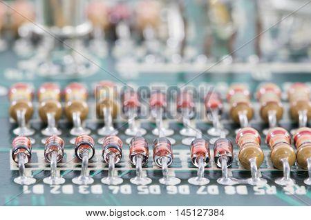 Closeup Electronic Hardware On The Circuit Board