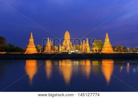 Old Temple wat Chaiwatthanaram of Ayutthaya Province( Ayutthaya Historical Park) Asia Thailand