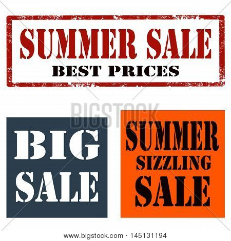 Set of stamps with text Summer Sale,Big Sale and Summer Sizzling-Sale,vector illustration