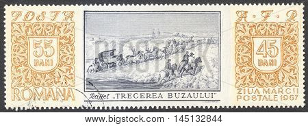 MOSCOW RUSSIA - CIRCA AUGUST 2016: a stamp printed in ROMANIA shows